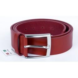 Červený italský kožený opasek. Šířka 38 mm, délka 115 cm