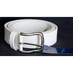 Italský bílý kožený opasek šířka 35 mm, délka 120 cm