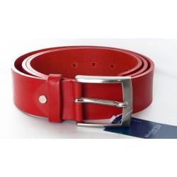 Červený italský kožený opasek. Šířka 39 mm, délka 115 cm
