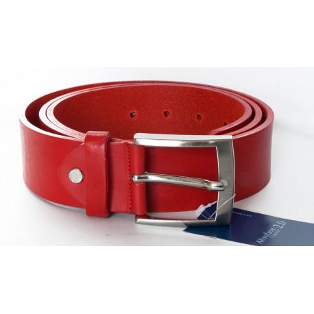 Červený italský kožený opasek. Šířka 39 mm, délka 125 cm