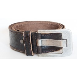 Hnědý kvalitní pevný kožený opasek 50 mm široký, 115 cm dlouhý