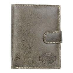 Kožená peněženka zapínací drsná khaki.