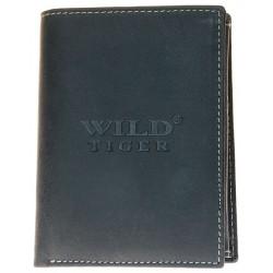 Kožená peněženka Wild Tiger tmavě šedá téměř černá
