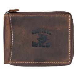 Kožená peněženka Born to be wild se žralokem dokola na zip