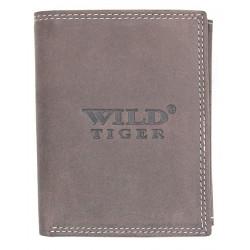 Kožená šedohnědá peněženka Wild Tiger z pevné hovězí kůže