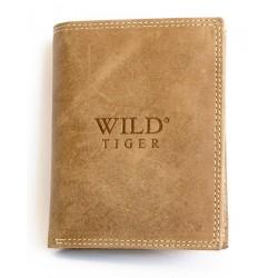 Kožená světle hnědá peněženka Wild Tiger z pevné hovězí kůže