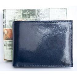 Tmavě modrá lesklá kožená peněženka