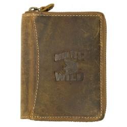 Kožená peněženka Born to be wild se žralokem dokola na kovový zip