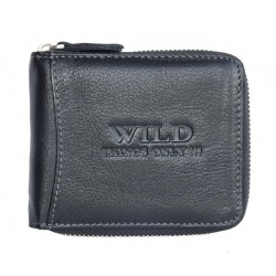 Kožená peněženka Wild černá dokola na kovový zip