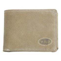 Pánská kvalitní celokožená peněženka světle šedozelená Wild