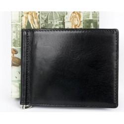 Kožená peněženka dolarka z kvalitní kůže s nerezovou vyklápěcí sponkou na bankovky uvnitř.