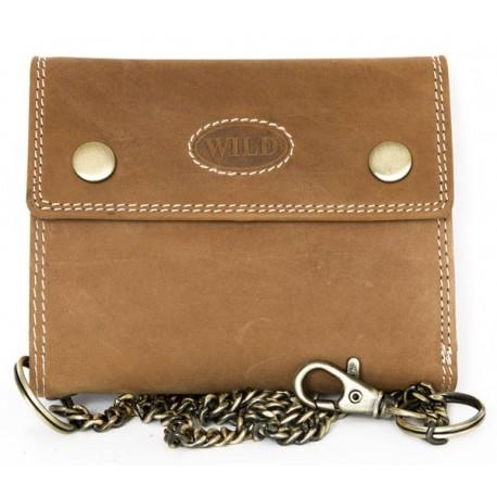Celá kožená světle hnědá kožená peněženka z pevné přírodní kůže s 45 cm dlouhým řetězem a karabinkou