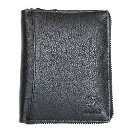 Peněženka Bull Leder z kvalitní černé kůže dokola na kovový zip