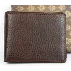 Hnědá kožená peněženka z pevné kůže bez nápisů a značek
