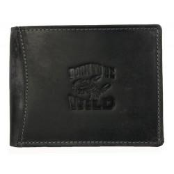 Kožená peněženka Always Wild z velmi tmavé šedé pevné kůže se škorpionem