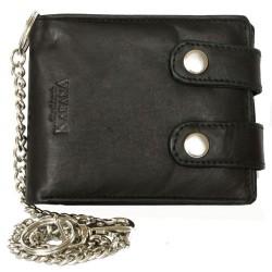 Černá pánská kožená motorkářská peněženka s 45 cm dlouhým řetězem a karabinkou