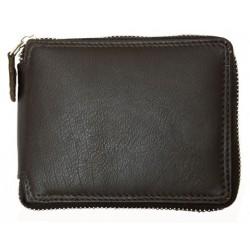 Hnědá kožená peněženka dokola na kovový zip