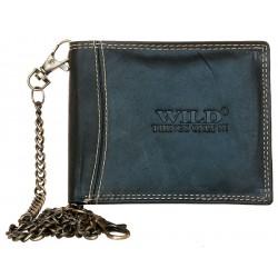 Celokožená motorkářská peněženka s 50 cm dlouhým řetězem a karabinkou