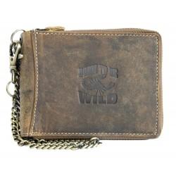 Kožená peněženka Born to be Wild se škorpionem dokola na kovový zip s řetězem