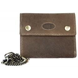 Celá kožená tmavě hnědá kožená peněženka z pevné přírodní kůže s 45 cm dlouhým řetězem a karabinkou
