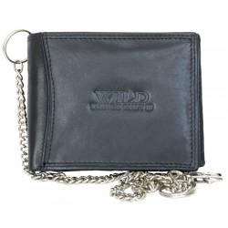 Pánská celokožená černá peněženka s 50 cm dlouhým řetězem a karabinkou