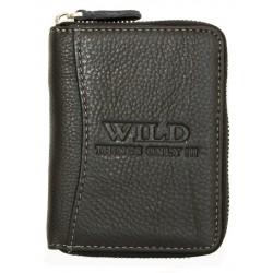 Černá kožená peněženka Wild celá dokola na kovový zip