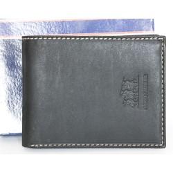 Luxusní kožená peněženka Harvey-Miller, matná černá zvenčí a světle hnědá zevnitř