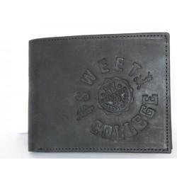 Kožená matná černá peněženka Sweet College z pevné pravé kůže