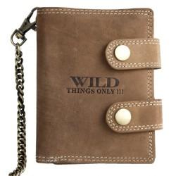Kožená peněženka Wild s 50 cm dlouhým kovovým řetězem a karabinkou