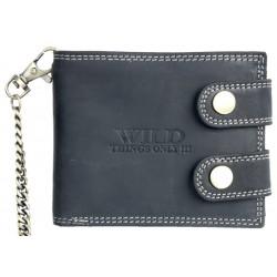 Kožená peněženka Wild s 50 cm dlouhým řetězem a karabinou