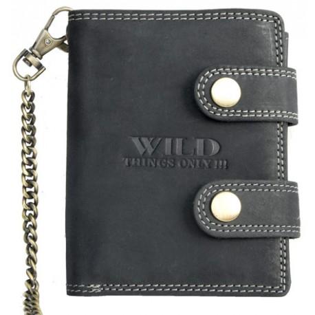Kožená peněženka Wild s 50 cm dlouhým kovovým řetězem a karabinkou AKCE