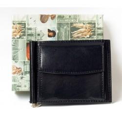 Černá kožená peněženka dolarka s kapsičkou na mince z pevné lesklé kůže