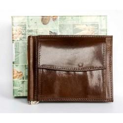 Hnědá kožená peněženka dolarka s kapsičkou na mince z pevné lesklé kůže
