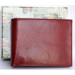 Italská červená lesklá kožená peněženka