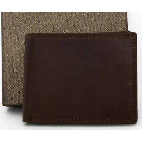 Malá kožená kapesní hnědá peněženka s přihrádkami na papírové peníze, mince a karty