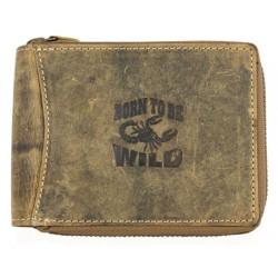 Kožená peněženka Born to be wild se škorpionem celá na zip
