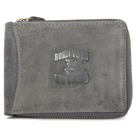 Šedá kožená peněženka Born to be wild dokola na kovový zip