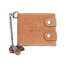 Celá kožená peněženka Wild s 50 cm dlouhým řetězem a karabinou
