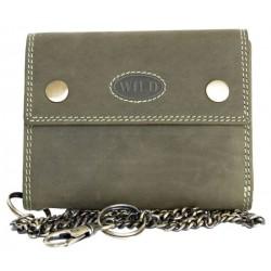 Celá kožená khaki peněženka Wild z pevné přírodní kůže