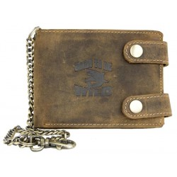 Kožená peněženka Born to be wild se žralokem, se dvěma upínkami a 35 cm dlouhým kovovým řetězem a karabinkou