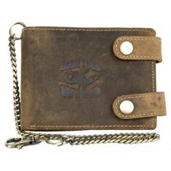 Kožená peněženka Born to be wild se škorpionem, se dvěma upínkami a 30 cm dlouhým kovovým řetězem a karabinkou