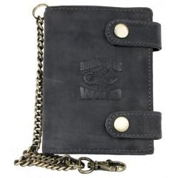 Kožená tmavě šedá peněženka Born to be wild se škorpionem, se dvěma upínkami a 30 cm dlouhým kovovým řetězem a kar