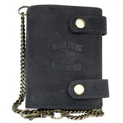 Kožená tmavě šedá peněženka Born to be wild se žralokem, se dvěma upínkami a 30 cm dlouhým kovovým řetězem a karab
