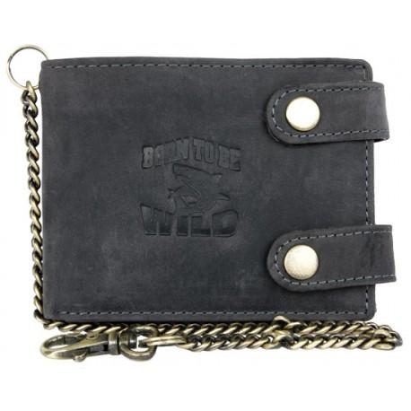 Kožená šedá peněženka Born to be wild se žralokem, se dvěma upínkami a 35 cm dlouhým kovovým řetězem a karabinkou