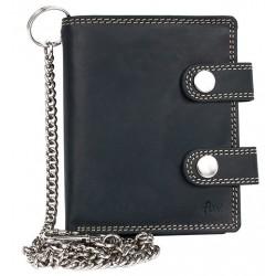 Šedá kožená peněženka se dvěma sponami a řetězem