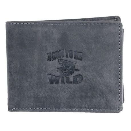 Šedá kožená peněženka Born to be wild se žralokem