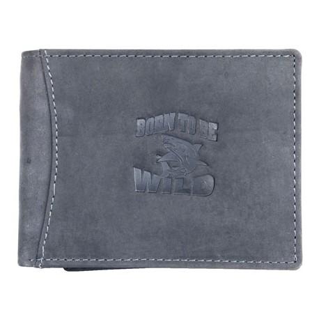 Šedá kožená peněženka Born to be wild se žralokem se zipem v přihrádce na bankovky