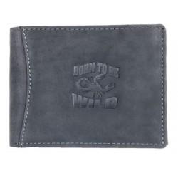 Šedá kožená peněženka Born to be wild se škorpionem se zipem v přihrádce na bankovky