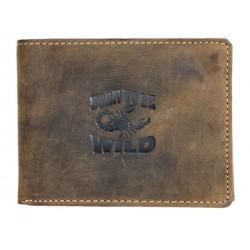 Kožená peněženka Born to be wild z pevné kůže se škorpionem