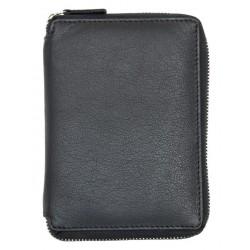 Kožené cestovní pouzdro na pas, bankovky, karty, jiné dokumenty a mince